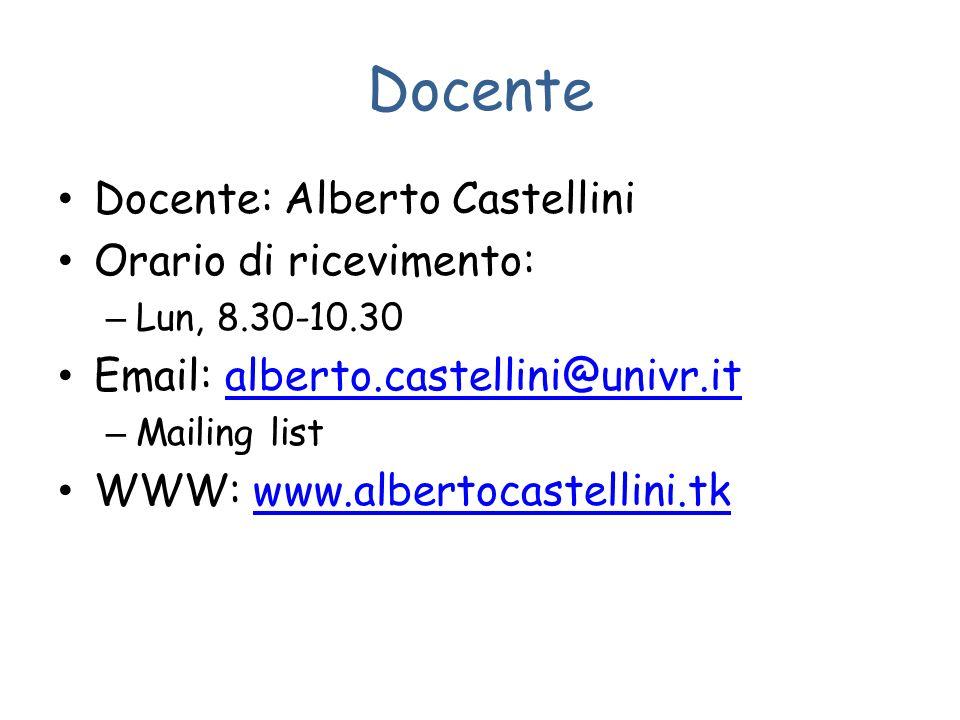 Docente Docente: Alberto Castellini Orario di ricevimento: – Lun, 8.30-10.30 Email: alberto.castellini@univr.italberto.castellini@univr.it – Mailing list WWW: www.albertocastellini.tkwww.albertocastellini.tk