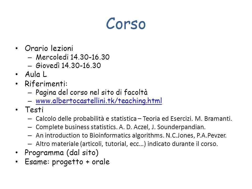 Corso Orario lezioni – Mercoledi 14.30-16.30 – Giovedì 14.30-16.30 Aula L Riferimenti: – Pagina del corso nel sito di facoltà – www.albertocastellini.