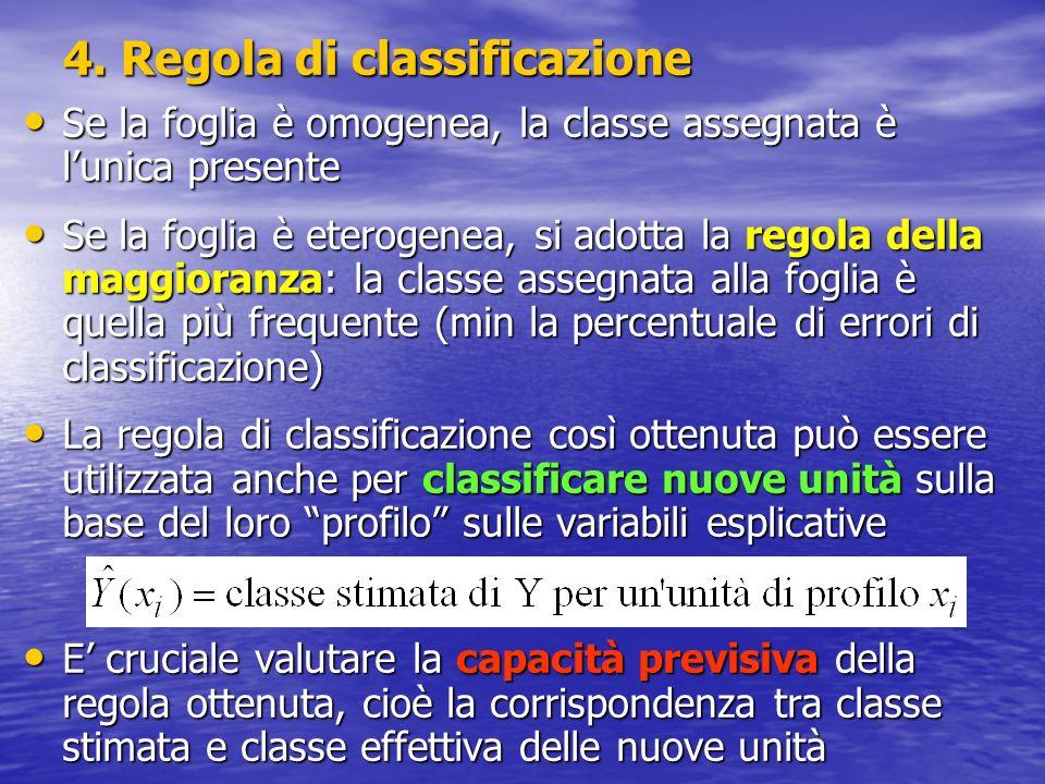 4. Regola di classificazione Se la foglia è omogenea, la classe assegnata è lunica presente Se la foglia è omogenea, la classe assegnata è lunica pres