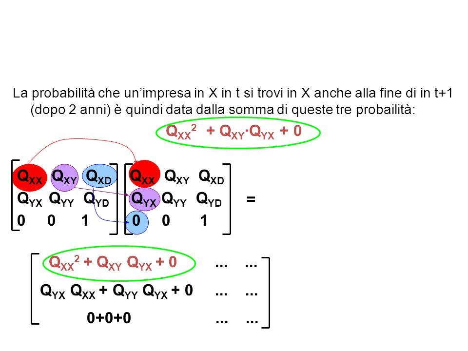 La probabilità che unimpresa in X in t si trovi in X anche alla fine di in t+1 (dopo 2 anni) è quindi data dalla somma di queste tre probailità: Q XX 2 + Q XY ·Q YX + 0 Q XX Q XY Q XD Q XX Q XY Q XD Q YX Q YY Q YD Q YX Q YY Q YD 0 0 1 0 01 = Q XX 2 + Q XY Q YX + 0......