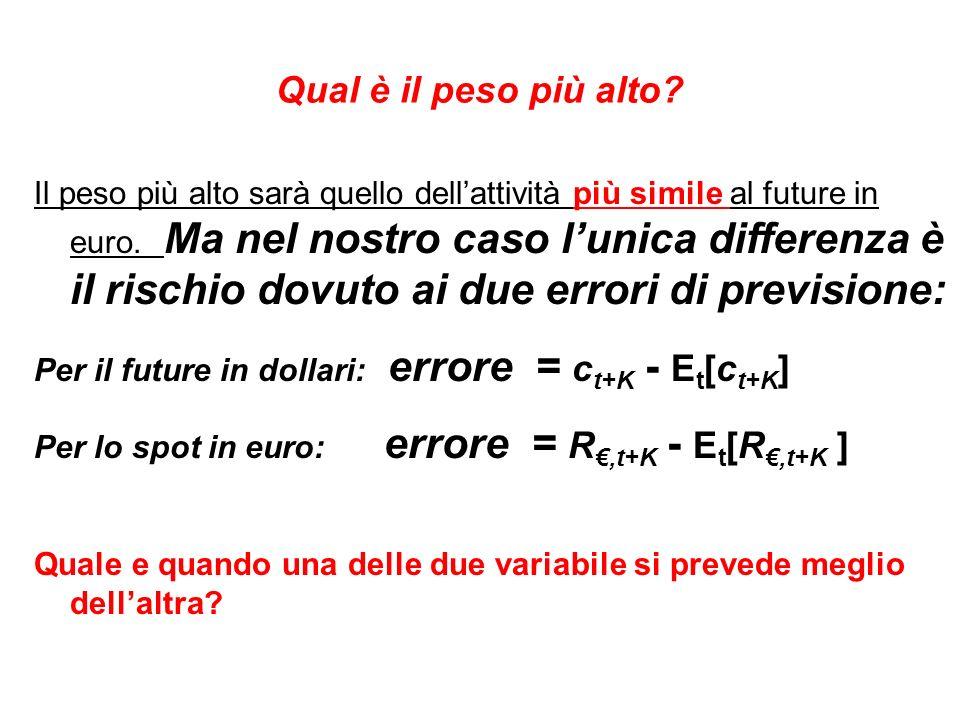 Qual è il peso più alto. Il peso più alto sarà quello dellattività più simile al future in euro.