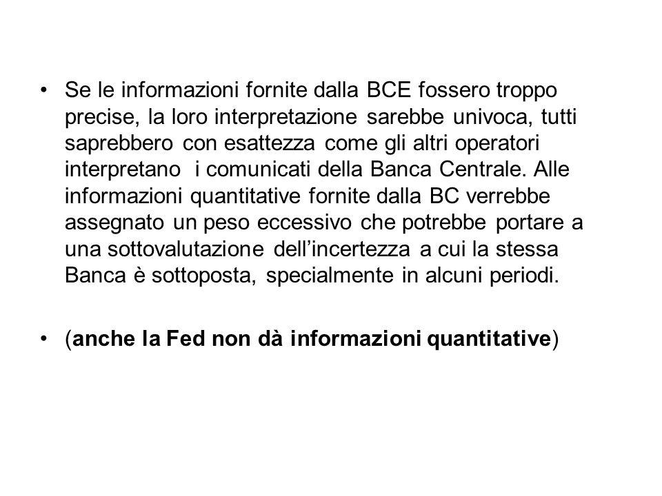 Se le informazioni fornite dalla BCE fossero troppo precise, la loro interpretazione sarebbe univoca, tutti saprebbero con esattezza come gli altri operatori interpretano i comunicati della Banca Centrale.