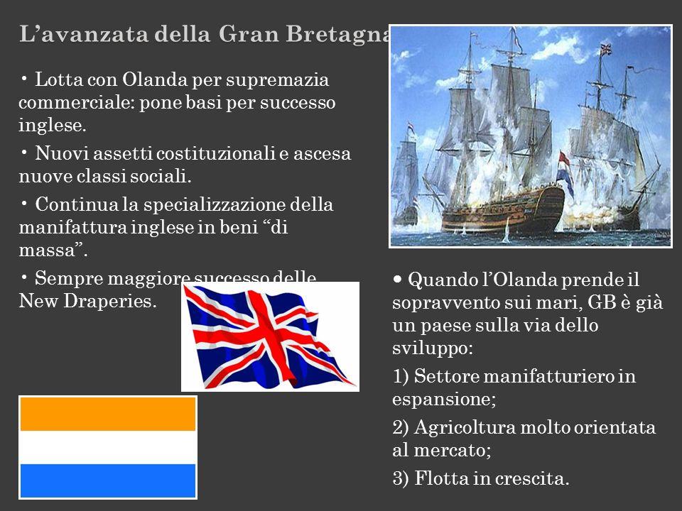 Lavanzata della Gran Bretagna Lotta con Olanda per supremazia commerciale: pone basi per successo inglese. Nuovi assetti costituzionali e ascesa nuove