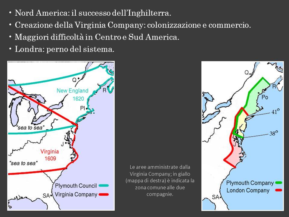 Nord America: il successo dellInghilterra. Creazione della Virginia Company: colonizzazione e commercio. Maggiori difficoltà in Centro e Sud America.