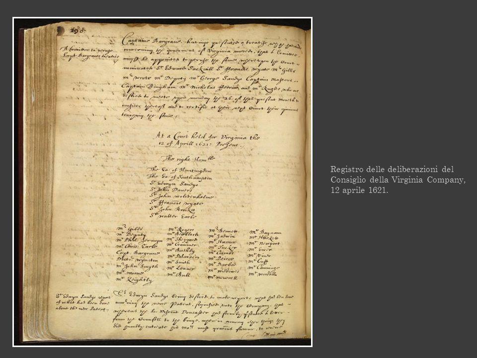Registro delle deliberazioni del Consiglio della Virginia Company, 12 aprile 1621.