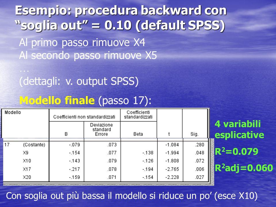 Esempio: procedura forward con soglia in = 0.05 (default SPSS) Al primo passo inserisce X17 Al secondo passo si arresta Modello finale 1 variabile esplicativa R 2 = 0.025 R 2 adj = 0.020 Risultati analoghi con procedura stepwise Se soglia in = 0.10 entrano anche X20, X9 e X10 v.