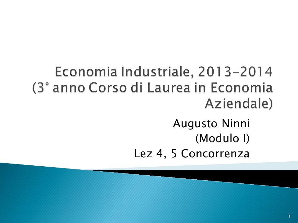 Augusto Ninni (Modulo I) Lez 4, 5 Concorrenza 1