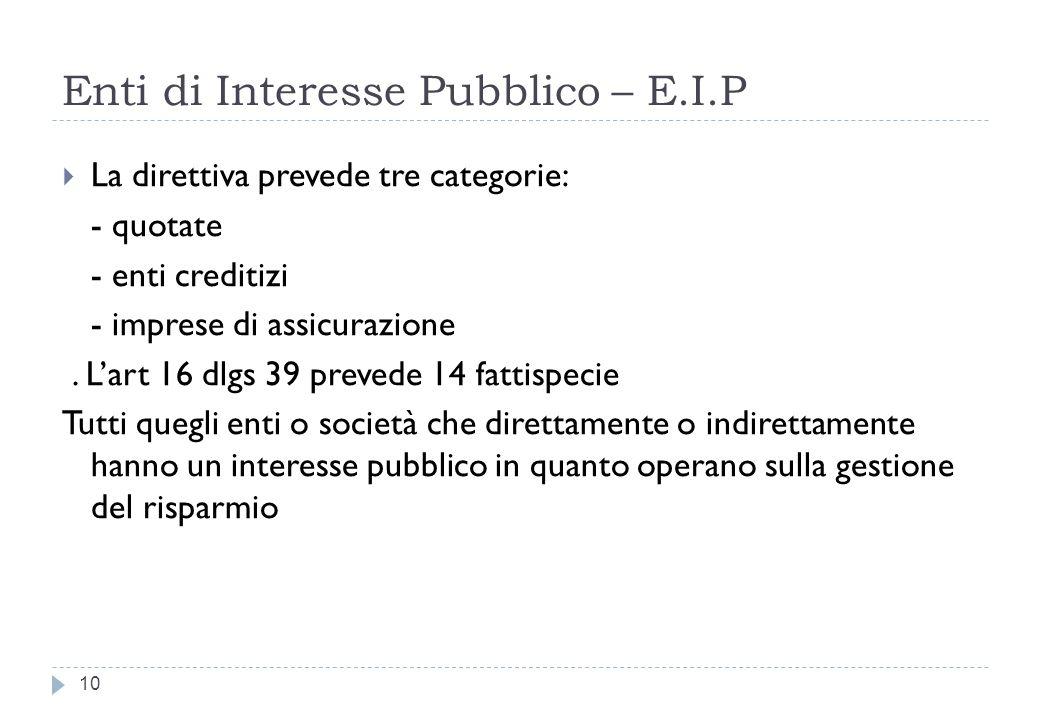 Enti di Interesse Pubblico – E.I.P 10 La direttiva prevede tre categorie: - quotate - enti creditizi - imprese di assicurazione.
