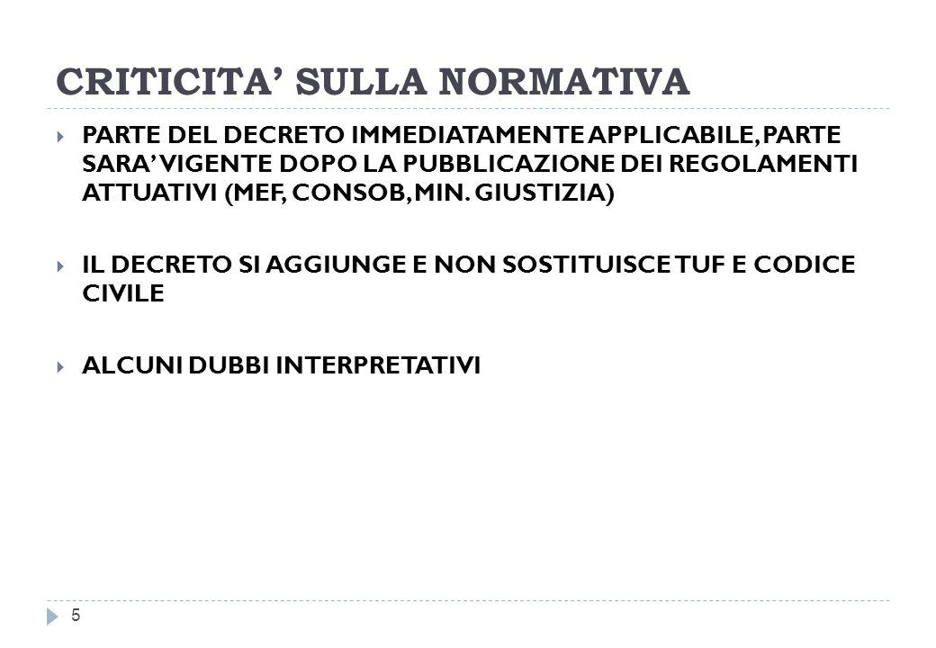 CRITICITA SULLA NORMATIVA 5 PARTE DEL DECRETO IMMEDIATAMENTE APPLICABILE, PARTE SARA VIGENTE DOPO LA PUBBLICAZIONE DEI REGOLAMENTI ATTUATIVI (MEF, CONSOB, MIN.