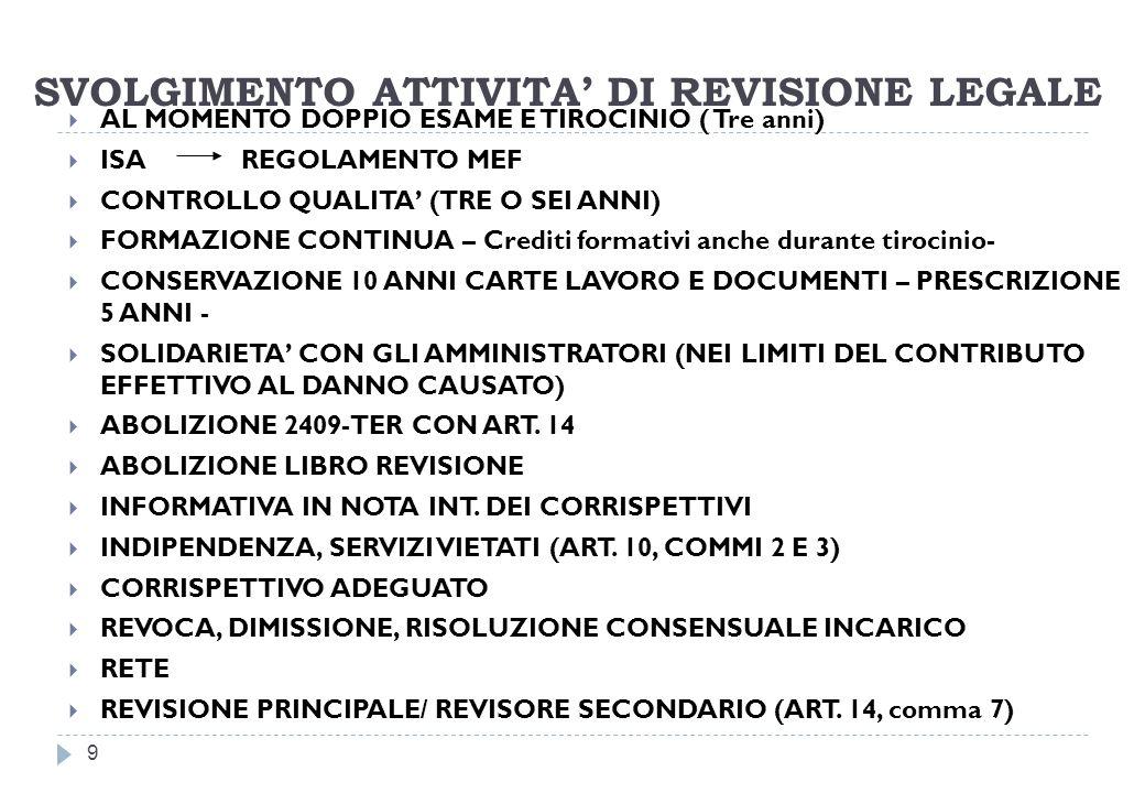 SVOLGIMENTO ATTIVITA DI REVISIONE LEGALE 9 AL MOMENTO DOPPIO ESAME E TIROCINIO ( Tre anni) ISA REGOLAMENTO MEF CONTROLLO QUALITA (TRE O SEI ANNI) FORMAZIONE CONTINUA – Crediti formativi anche durante tirocinio- CONSERVAZIONE 10 ANNI CARTE LAVORO E DOCUMENTI – PRESCRIZIONE 5 ANNI - SOLIDARIETA CON GLI AMMINISTRATORI (NEI LIMITI DEL CONTRIBUTO EFFETTIVO AL DANNO CAUSATO) ABOLIZIONE 2409-TER CON ART.