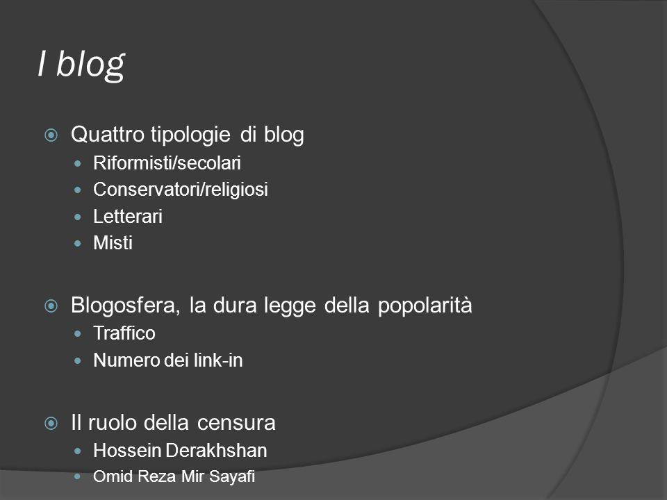 I blog Quattro tipologie di blog Riformisti/secolari Conservatori/religiosi Letterari Misti Blogosfera, la dura legge della popolarità Traffico Numero dei link-in Il ruolo della censura Hossein Derakhshan Omid Reza Mir Sayafi