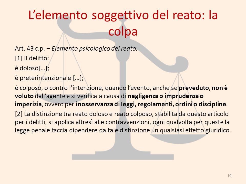 Lelemento soggettivo del reato: la colpa Art. 43 c.p. – Elemento psicologico del reato. [1] Il delitto: è doloso[…]; è preterintenzionale […]; è colpo