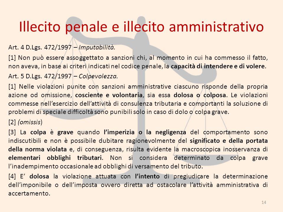 Illecito penale e illecito amministrativo Art. 4 D.Lgs. 472/1997 – Imputabilità. [1] Non può essere assoggettato a sanzioni chi, al momento in cui ha
