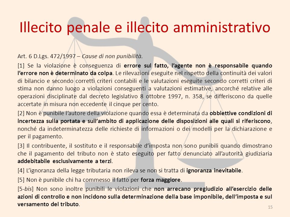 Illecito penale e illecito amministrativo Art. 6 D.Lgs. 472/1997 – Cause di non punibilità. [1] Se la violazione è conseguenza di errore sul fatto, la