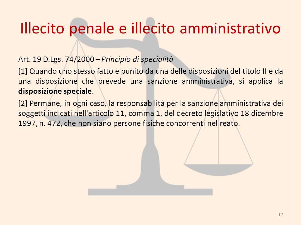 Illecito penale e illecito amministrativo Art. 19 D.Lgs. 74/2000 – Principio di specialità [1] Quando uno stesso fatto è punito da una delle disposizi