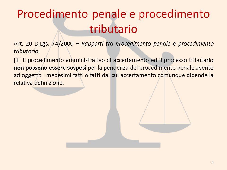 Procedimento penale e procedimento tributario Art. 20 D.Lgs. 74/2000 – Rapporti tra procedimento penale e procedimento tributario. [1] Il procedimento