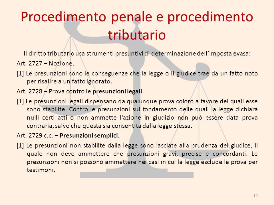 Procedimento penale e procedimento tributario Il diritto tributario usa strumenti presuntivi di determinazione dellimposta evasa: Art. 2727 – Nozione.