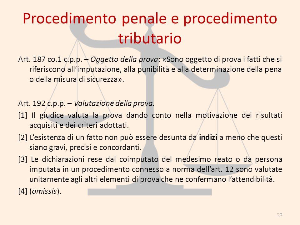 Procedimento penale e procedimento tributario Art. 187 co.1 c.p.p. – Oggetto della prova: «Sono oggetto di prova i fatti che si riferiscono allimputaz