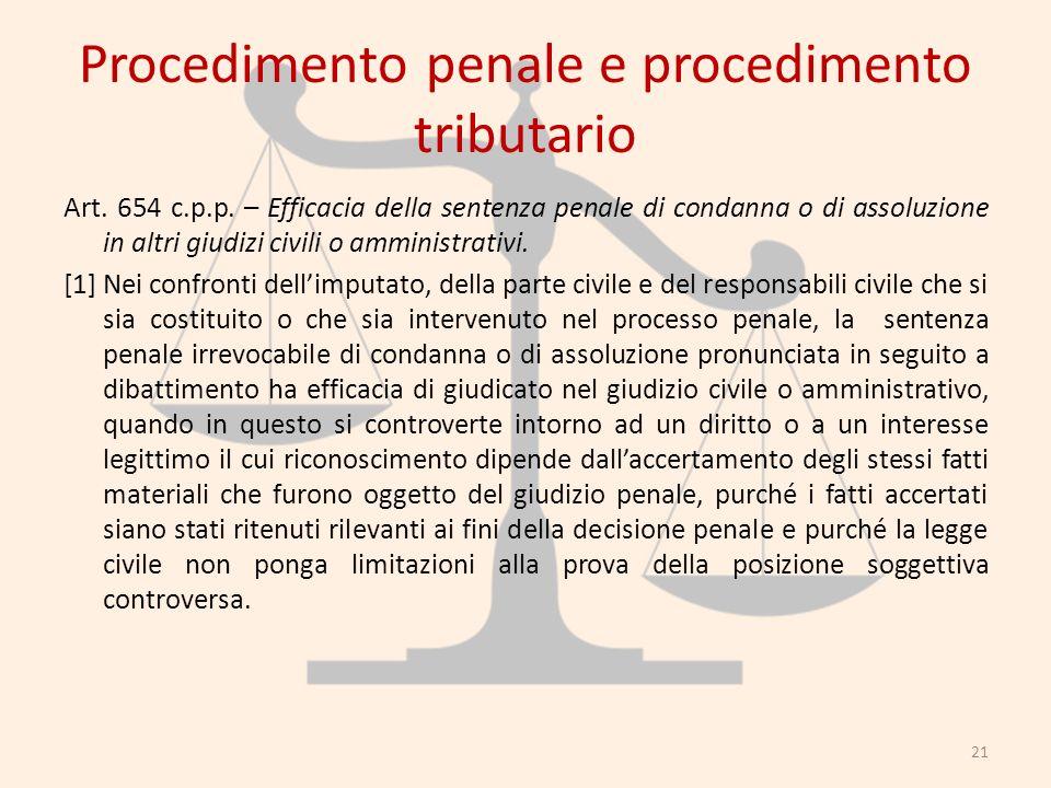 Procedimento penale e procedimento tributario Art. 654 c.p.p. – Efficacia della sentenza penale di condanna o di assoluzione in altri giudizi civili o