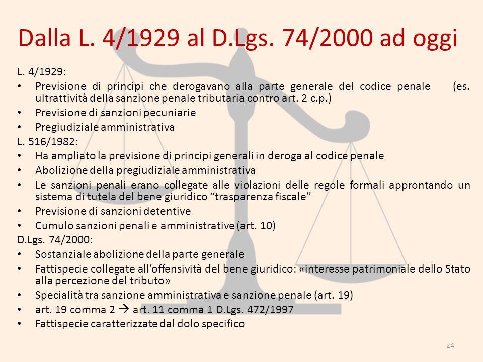 Dalla L. 4/1929 al D.Lgs. 74/2000 ad oggi L. 4/1929: Previsione di principi che derogavano alla parte generale del codice penale (es. ultrattività del