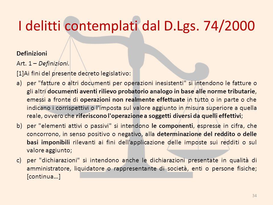 I delitti contemplati dal D.Lgs. 74/2000 Definizioni Art. 1 – Definizioni. [1]Ai fini del presente decreto legislativo: a)per