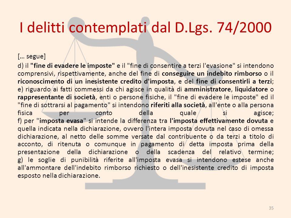 I delitti contemplati dal D.Lgs. 74/2000 [… segue] d) il