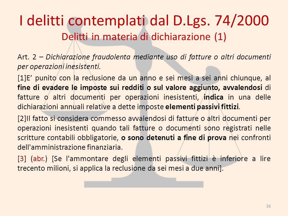 I delitti contemplati dal D.Lgs. 74/2000 Delitti in materia di dichiarazione (1) Art. 2 – Dichiarazione fraudolenta mediante uso di fatture o altri do