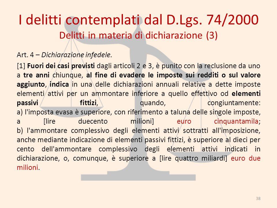 I delitti contemplati dal D.Lgs. 74/2000 Delitti in materia di dichiarazione (3) Art. 4 – Dichiarazione infedele. [1] Fuori dei casi previsti dagli ar