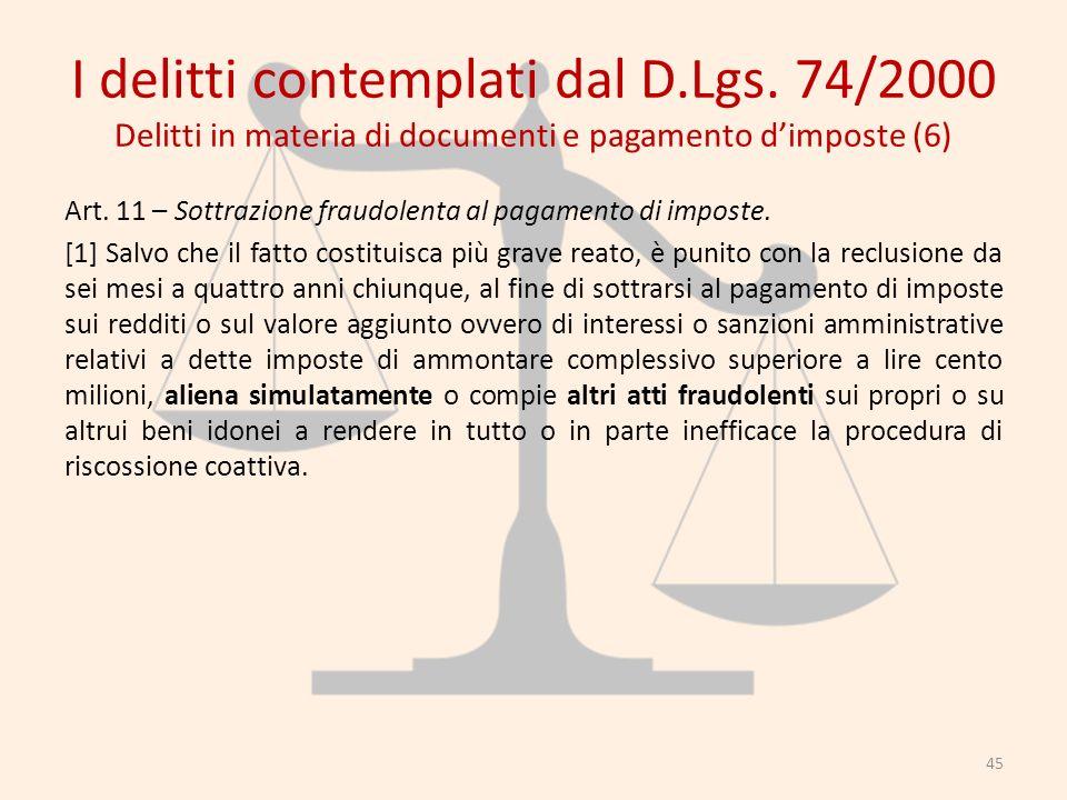 I delitti contemplati dal D.Lgs. 74/2000 Delitti in materia di documenti e pagamento dimposte (6) Art. 11 – Sottrazione fraudolenta al pagamento di im