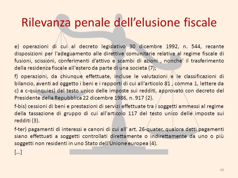 Rilevanza penale dellelusione fiscale e) operazioni di cui al decreto legislativo 30 dicembre 1992, n. 544, recante disposizioni per l'adeguamento all