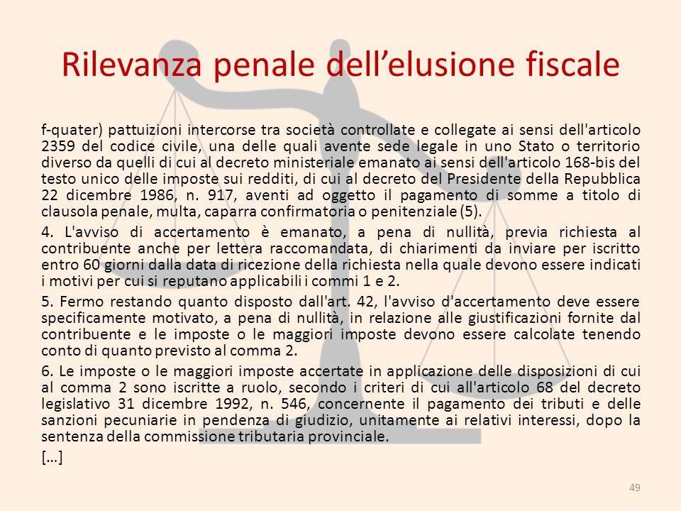Rilevanza penale dellelusione fiscale f-quater) pattuizioni intercorse tra società controllate e collegate ai sensi dell'articolo 2359 del codice civi