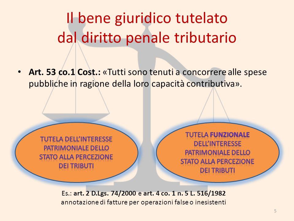 Il bene giuridico tutelato dal diritto penale tributario Art. 53 co.1 Cost.: «Tutti sono tenuti a concorrere alle spese pubbliche in ragione della lor