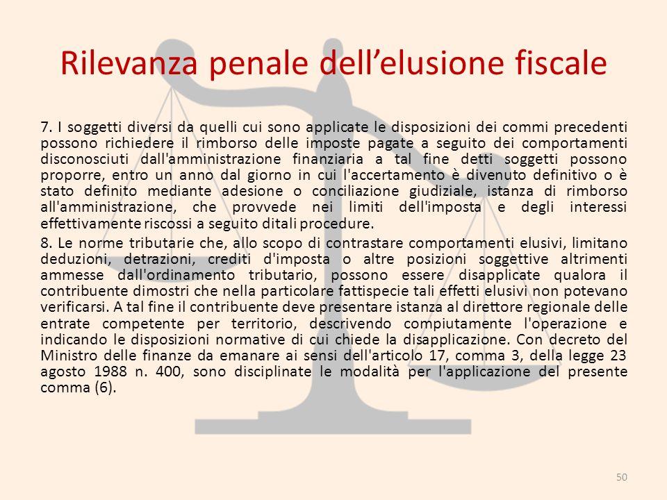 Rilevanza penale dellelusione fiscale 7. I soggetti diversi da quelli cui sono applicate le disposizioni dei commi precedenti possono richiedere il ri
