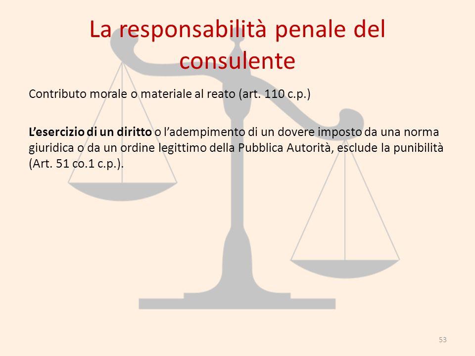 La responsabilità penale del consulente Contributo morale o materiale al reato (art. 110 c.p.) Lesercizio di un diritto o ladempimento di un dovere im