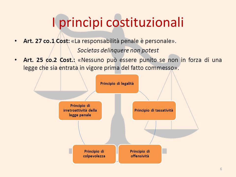 I princìpi costituzionali Art. 27 co.1 Cost: «La responsabilità penale è personale». Societas delinquere non potest Art. 25 co.2 Cost.: «Nessuno può e