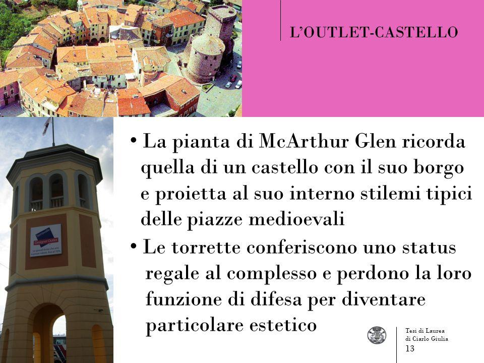 LOUTLET-CASTELLO La pianta di McArthur Glen ricorda quella di un castello con il suo borgo e proietta al suo interno stilemi tipici delle piazze medio
