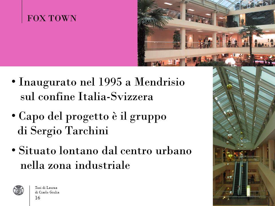 Inaugurato nel 1995 a Mendrisio sul confine Italia-Svizzera FOX TOWN Situato lontano dal centro urbano nella zona industriale Capo del progetto è il g