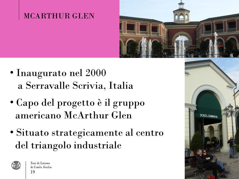 Inaugurato nel 2000 a Serravalle Scrivia, Italia MCARTHUR GLEN Situato strategicamente al centro del triangolo industriale Capo del progetto è il grup