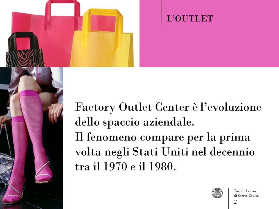 Factory Outlet Center è levoluzione dello spaccio aziendale. Il fenomeno compare per la prima volta negli Stati Uniti nel decennio tra il 1970 e il 19