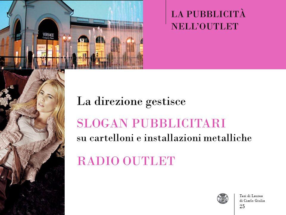 LA PUBBLICITÀ NELLOUTLET La direzione gestisce SLOGAN PUBBLICITARI su cartelloni e installazioni metalliche RADIO OUTLET Tesi di Laurea di Ciarlo Giul