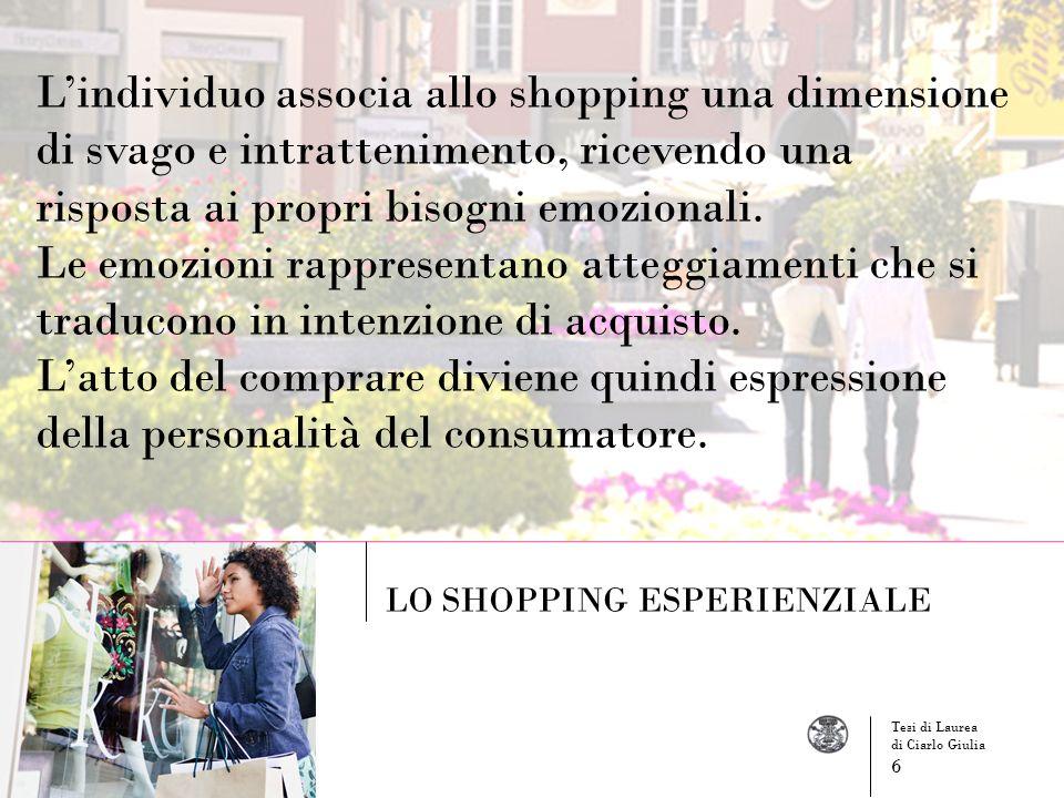 Lindividuo associa allo shopping una dimensione di svago e intrattenimento, ricevendo una risposta ai propri bisogni emozionali. Le emozioni rappresen