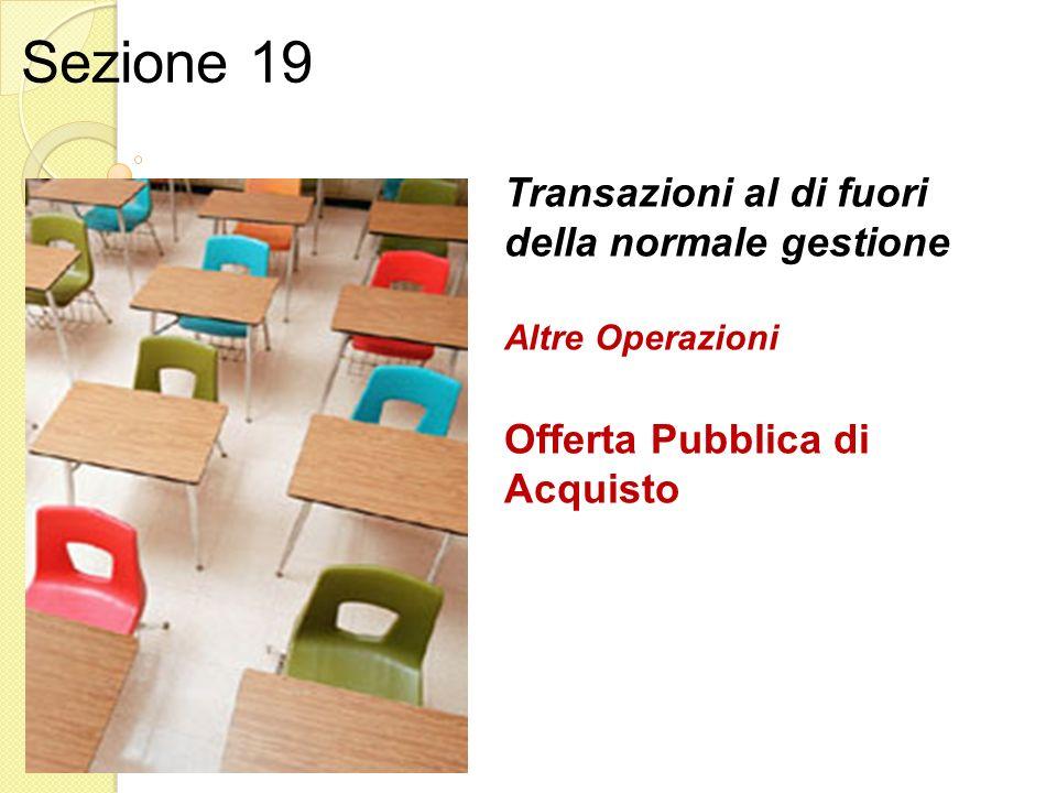 Transazioni al di fuori della normale gestione Altre Operazioni Offerta Pubblica di Acquisto Sezione 19
