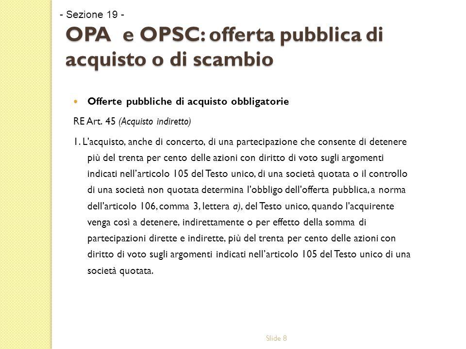 Slide 8 OPA e OPSC: offerta pubblica di acquisto o di scambio Offerte pubbliche di acquisto obbligatorie RE Art.