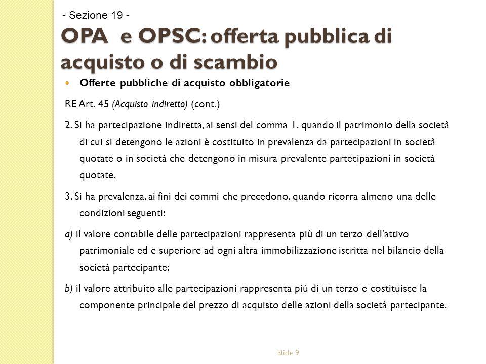 Slide 9 OPA e OPSC: offerta pubblica di acquisto o di scambio Offerte pubbliche di acquisto obbligatorie RE Art.