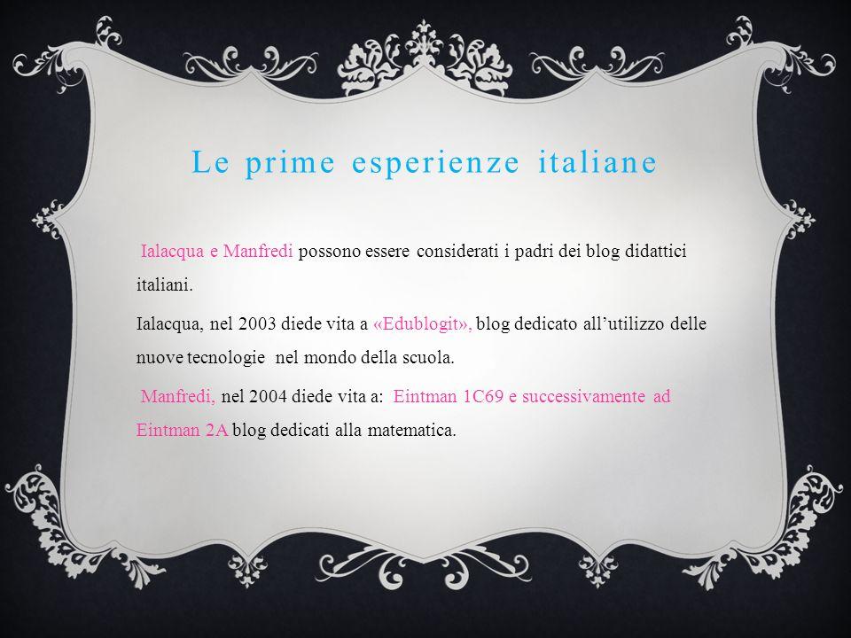 Le prime esperienze italiane Ialacqua e Manfredi possono essere considerati i padri dei blog didattici italiani. Ialacqua, nel 2003 diede vita a «Edub