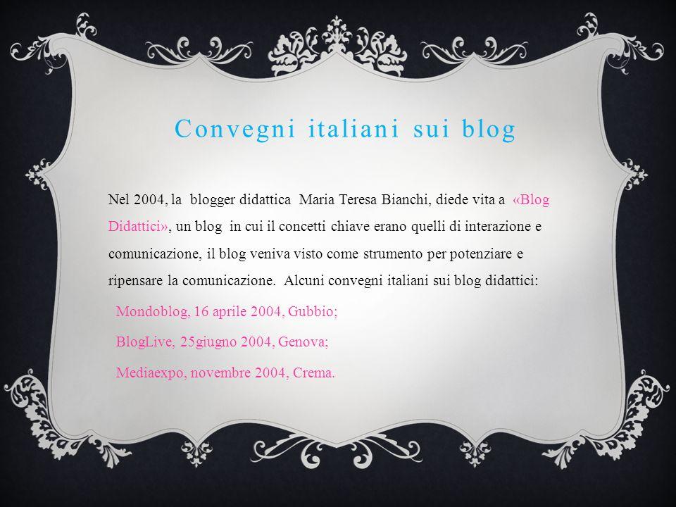 Convegni italiani sui blog Nel 2004, la blogger didattica Maria Teresa Bianchi, diede vita a «Blog Didattici», un blog in cui il concetti chiave erano quelli di interazione e comunicazione, il blog veniva visto come strumento per potenziare e ripensare la comunicazione.