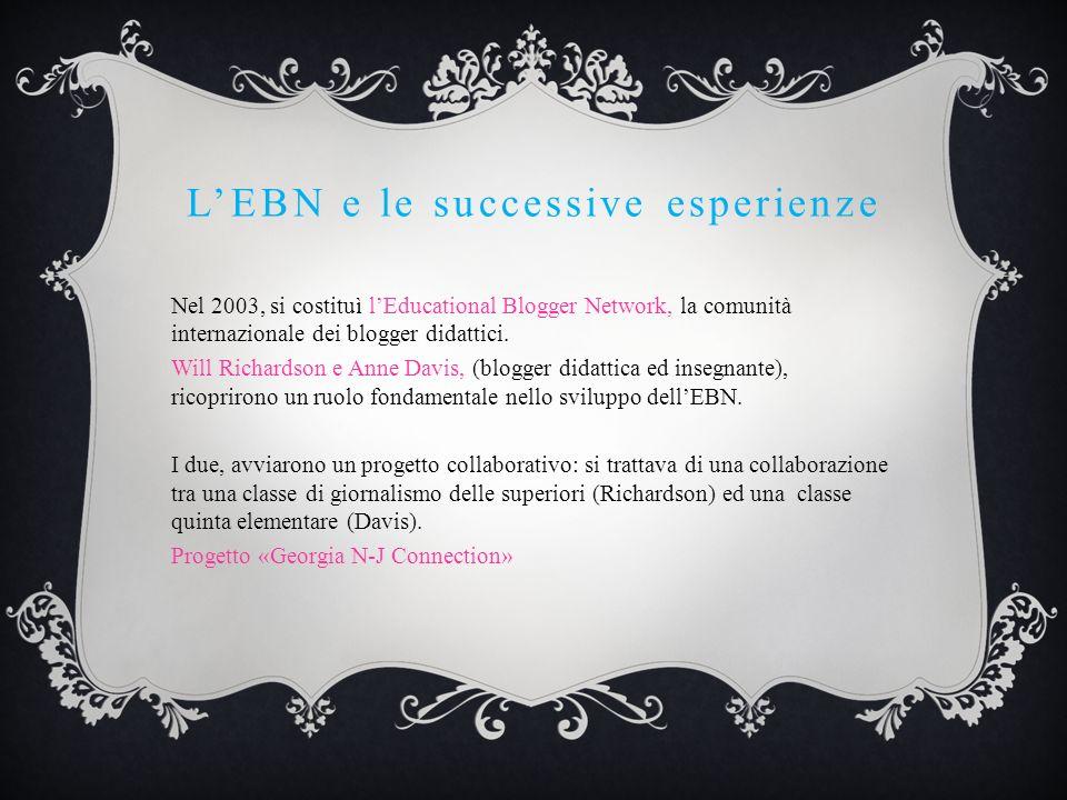 LEBN e le successive esperienze Nel 2003, si costituì lEducational Blogger Network, la comunità internazionale dei blogger didattici. Will Richardson