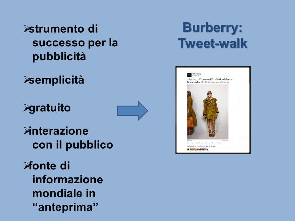 strumento di successo per la pubblicità semplicità gratuito interazione con il pubblico fonte di informazione mondiale in anteprima Burberry: Tweet-walk