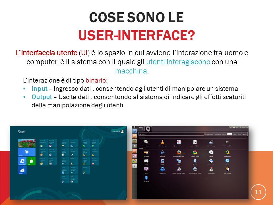 11 Linterfaccia utente (UI) è lo spazio in cui avviene linterazione tra uomo e computer, è il sistema con il quale gli utenti interagiscono con una ma