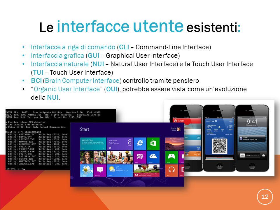 12 Le interfacce utente esistenti: Interfacce a riga di comando (CLI – Command-Line Interface) Interfaccia grafica (GUI – Graphical User Interface) In